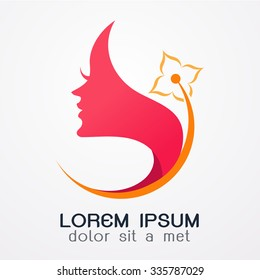 Woman with flower logo Abstract design template  concept for beauty salon, massage, cosmetic and spa.-vector illustration