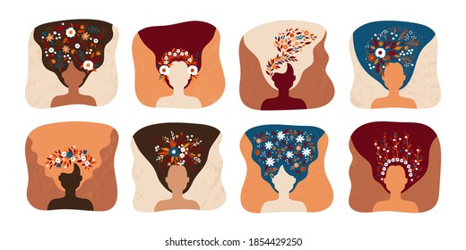 Woman with flowers. Cartoon colorful female head silhouettes, long loose hair and plant decorations. Cosmetics advertising template. Collection of emblem mockups for haircut service. Vector beauty set