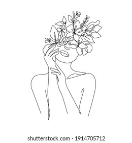 Woman with Flowers Line Vector Drawing. Style Template with Female Face with Flowers. Modern Minimalist Simple Linear Style. Beauty Fashion Design
