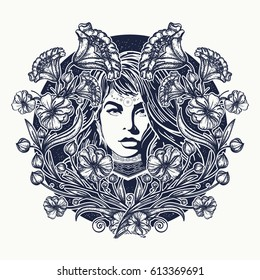 Woman and flowers tattoo. Art nouveau woman t-shirt design