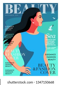 Woman with fluttering hair, profile face. Sea background with gulls. Fashion magazine cover design for the summer holidays season. Vector illustration
