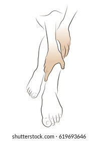 Woman, foot care, pain in the legs. Colored Vector illustration.