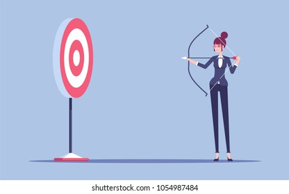 Woman in formal wear arching in the target. Young business woman with bow and arrow shoots to aim vector flat illustration. Business concept goal and purpose.