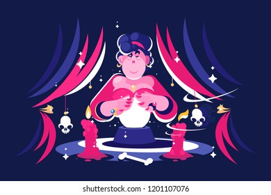 Woman fortune teller with magical crystal ball reading future in dark room. Flat. Vector illustration.