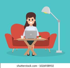 woman in freelance working design. flat cartoon people on sofa with laptop.