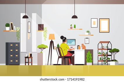 woman freelancer using computer monitor working at home during coronavirus quarantine self-isolation social distancing concept living room interior horizontal full length vector illustration