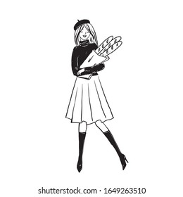 Woman with a french baguette. Bakery illustrations. Girl holds bread. Vector illustration.