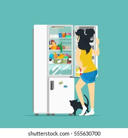 Woman and fridge. Vector illustration.