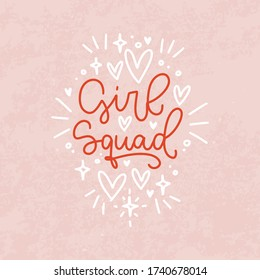 Woman friendship quote. Vector t-shirt iron on design with Girl squad script text. Red and blush pink handwritten modern calligraphy phrase with vintage texture.