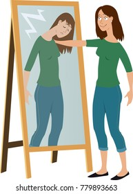 Woman in front of a mirror comforting her own reflection as a metaphor for self-care, EPS 8 vector illustration