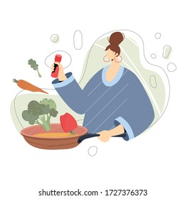 Woman with frying pan, salt shaker and vegetables. Modern vector flat design with faceless fictional character.