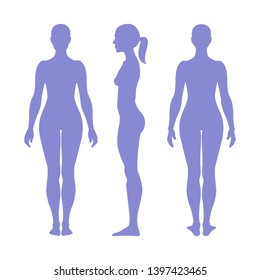 Woman full length figure silhouette. Front, back and side views. Vector illustration isolated on white background.