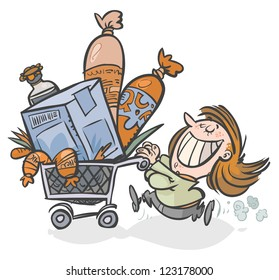 Woman with a full Shopping cart.