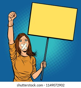A woman with a gag in her mouth protests for freedom of speech against the censorship. Pop art retro vector illustration vintage kitsch drawing