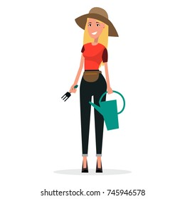 Woman gardener with watering can and scoop vector illustration isolated on white. Landscape designer blonde girl in hat in flat style
