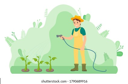 Woman gardener in yellow overalls and rubber boots water plants using hose. Green stems grow out of the ground. Shapeless flowing green floral background. Care for the garden, agriculture. Flat image