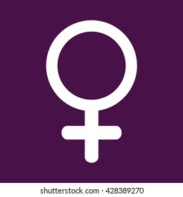 Woman gender symbol white icon vector. Purple background