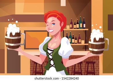 woman with german traditional dress drink beer in bar Oktoberfest celebration vector illustration design