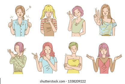 Woman gesture. Gestures and emotions. Expression Different and varied. Cartoon, hand drawn, illustration design vector isolated on white background.