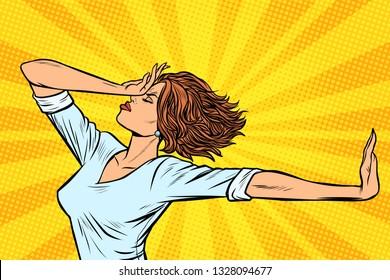 woman gesture no stop. Pop art retro vector illustration vintage kitsch
