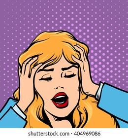 woman get headache, healthcare and migraine, cartoon character, pop art, retro style, vector illustration