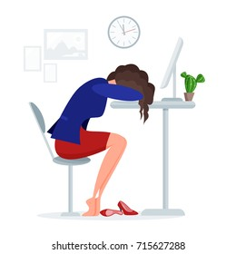 Woman get tired sleeping at work at lunch time right at the office desk near computer on a white background