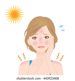 a woman gets sunburns on her face and shoulders/sunburn woman