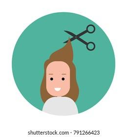 Woman getting a hair cut. hairstyle icon