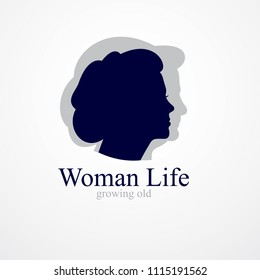 Woman getting old age years conceptual illustration, from woman to grandma, aging period and cycle of life. Vector simple classic concept icon or logo design.