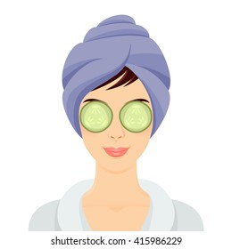 Woman getting spa treatment. Smiling girl portrait with eyes mask. Vector illustration