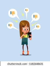 Woman girl character receive bad comments. Social media communication network. Vector design graphic flat cartoon illustration
