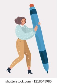 Woman or girl holding in her hands a big pen. Concept design for writers, bloggers, journalists, interviewer, copywriters. Vector cartoon illustration of in modern concept