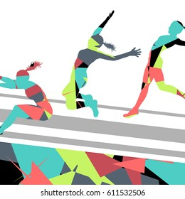 Woman girl long jump flying active sport athletic silhouettes mosaic illustration background vector