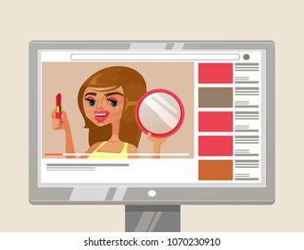 Woman girl person youtuber beauty blogger character showing and teaching how to do makeup with lipstick and mirror. Online blog internet channel content video tutorial concept. Vector flat cartoon