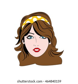 woman girl retro hair pop art icon. Isolated and flat illustration. Vector graphic