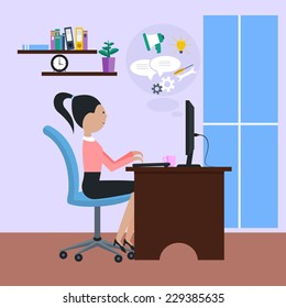 Woman girl sitting on chair at table in front of computer monitor and cartoon flat design style. Side view of female office worker using computer at desk in office near window