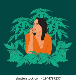 woman girls smoking weed ganja cannabis marijuana with leaf and tree