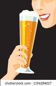 Woman with a glass of beer. Creative conceptual vector.