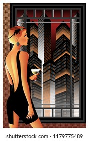 Woman with a glass of wine on the background of night city. Handmade drawing vector.