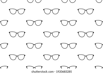 Woman glasses seamless pattern. Retro style. Cartoon flat style. Vector monochrome illustration.