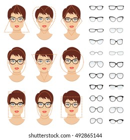 Woman glasses shapes for different women face types. Vector set. All glasses are transparent.