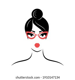 Woman with glasses. View front. Isolated vector illustration