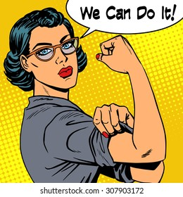 Woman with glasses we can do it the power of feminism. Retro style pop art