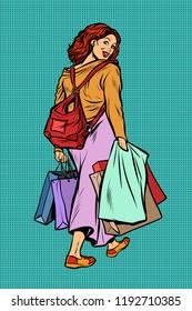 Woman goes shopping. Pop art retro vector illustration vintage kitsch