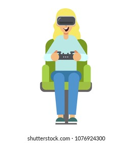 Woman with gogle glasses . Young girl in virtual augmented reality