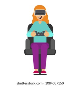 Woman with gogle glasses . Young girl in virtual augmented reality vector