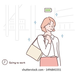 Woman going to work. Happy female character walking on city street. Morning activity of clerk or office worker. Start of day. Hand drawn style vector design illustrations.