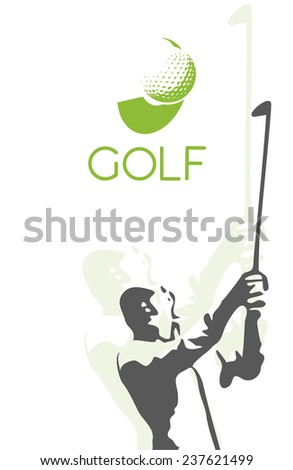 Woman Golf Silhouette Illustration On White Stock Vector Royalty