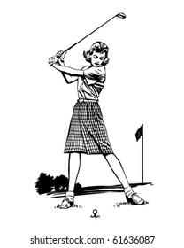 Woman Golfer 2 - Retro Clip Art