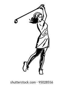Woman Golfer 3 - Retro Clipart Illustration